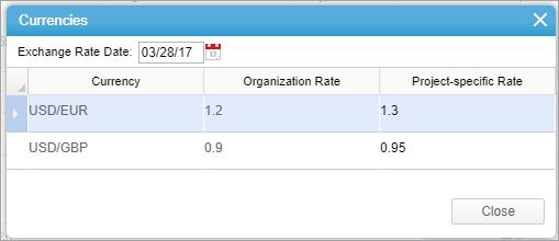Project Level Exchange Rates