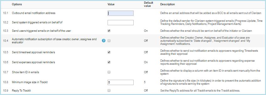 system settings clarizen success